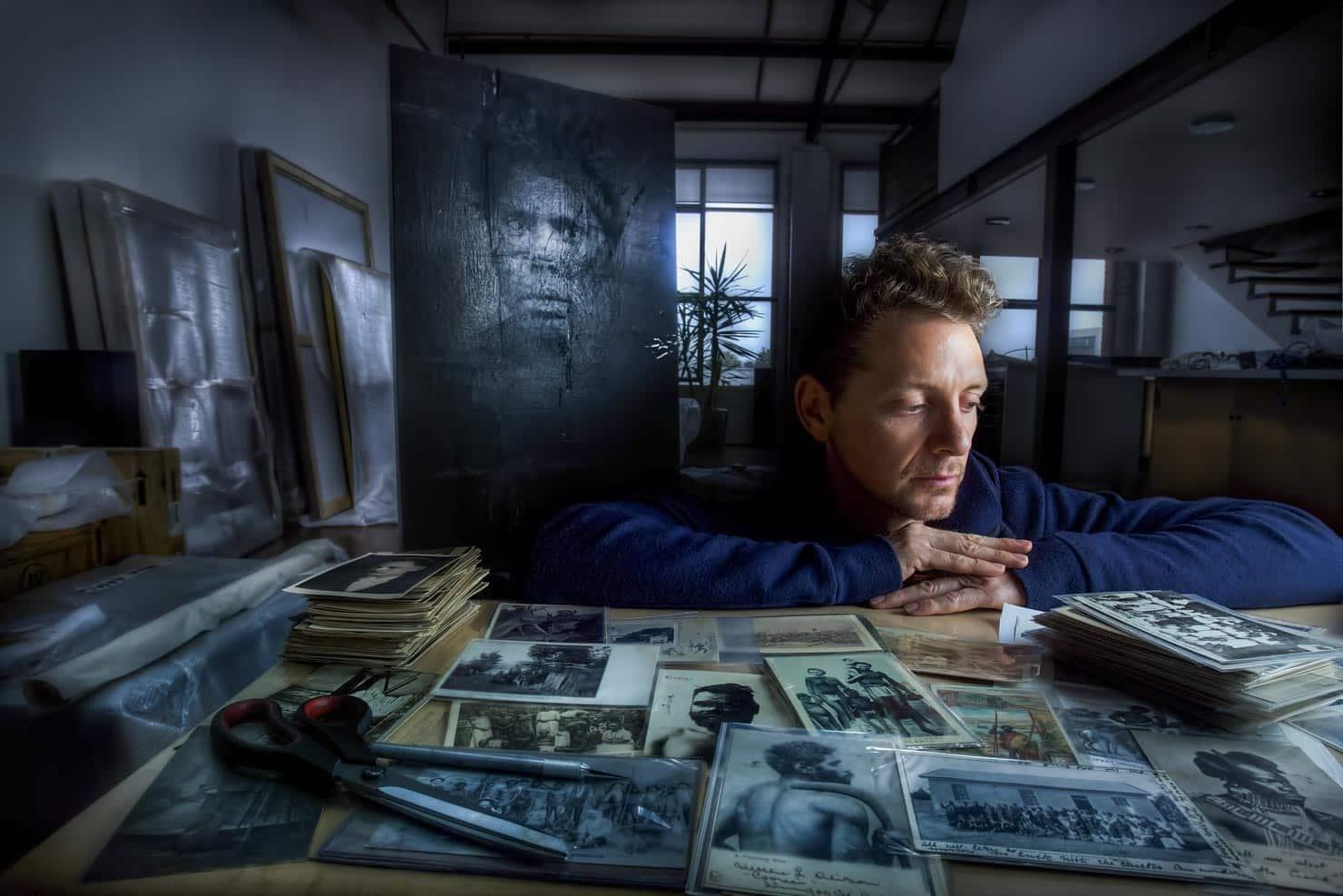 Artist BROOK ANDREW in his Footscray studio.