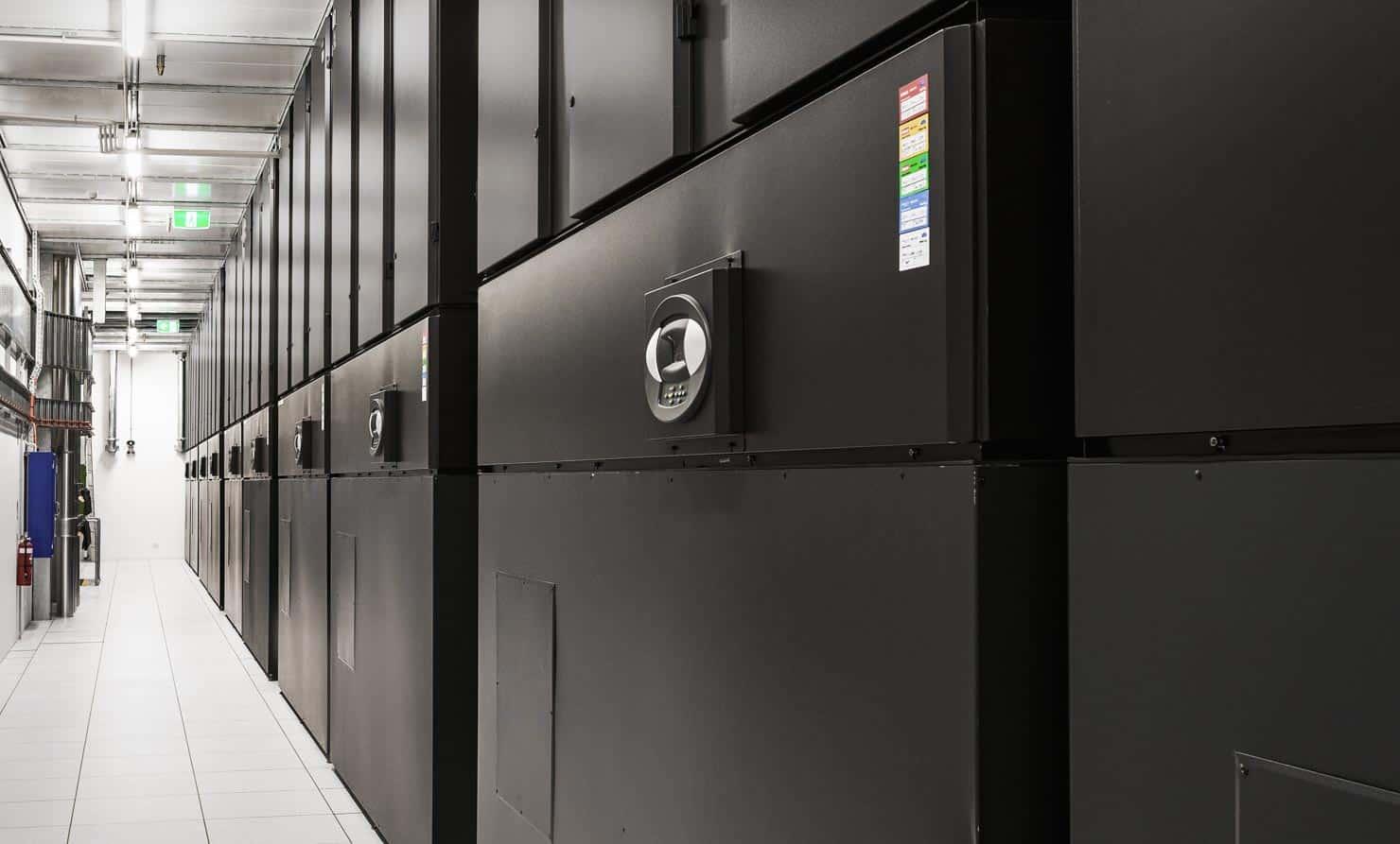 Inside an electronics warehousing installation
