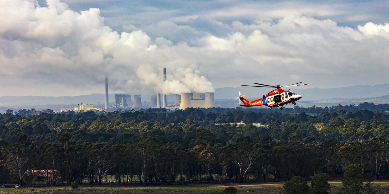 Ambulance helicopter with Yallourne electric power station