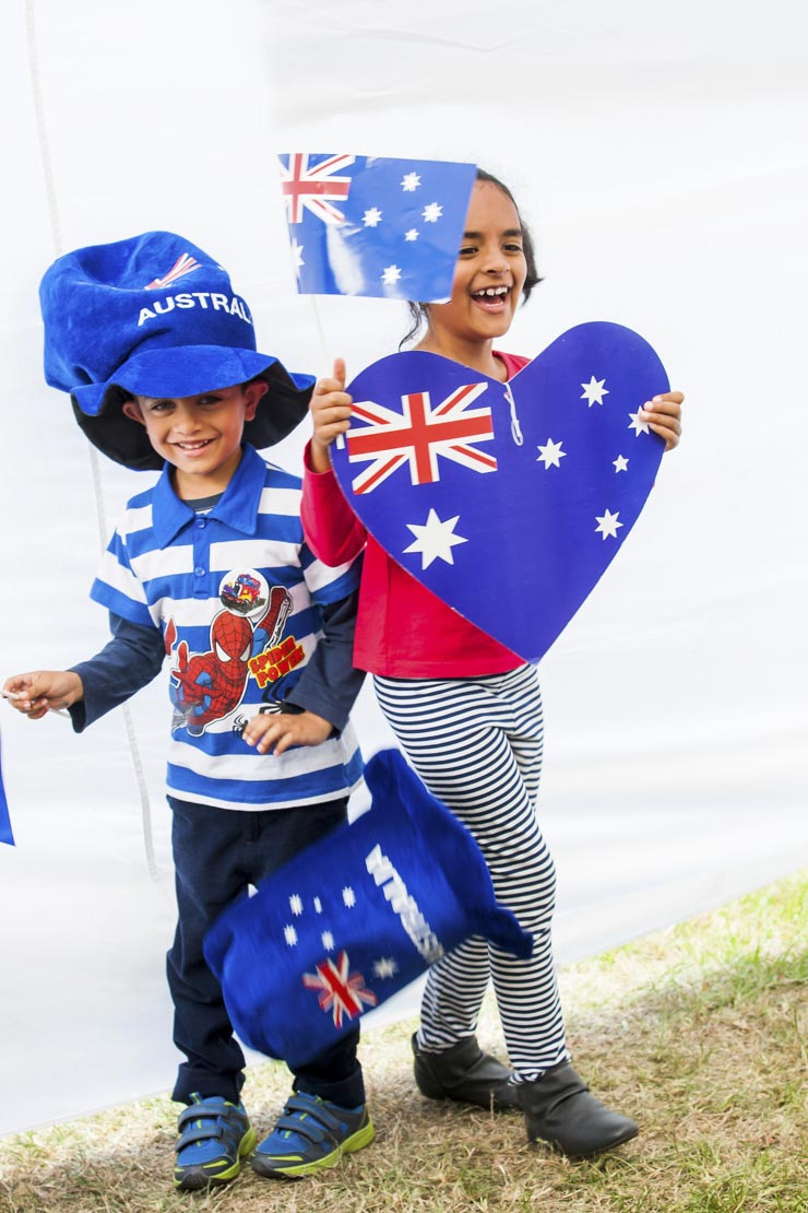 Australia Day celebrations, children dressed up with Australian flags