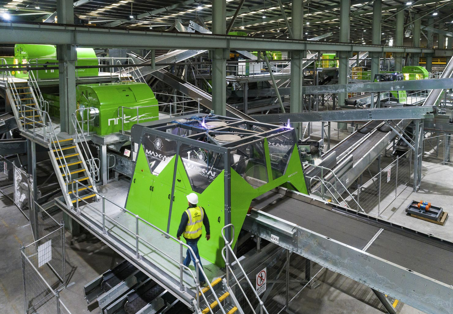 Factory with green machines