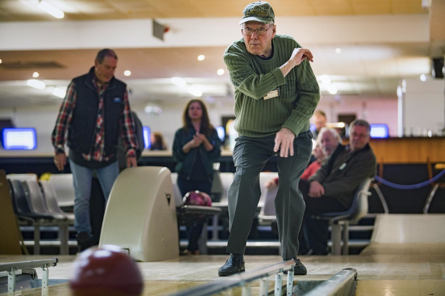 Elderly, aged care, man playing ten pin bowls