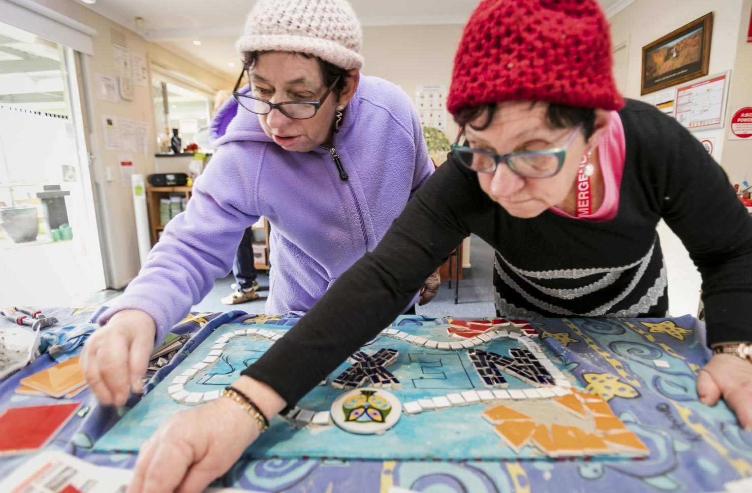 Elderley, aged care, women making crafts