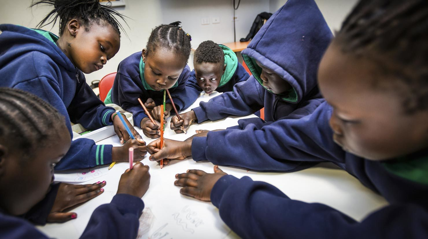 African Australian school children drawing