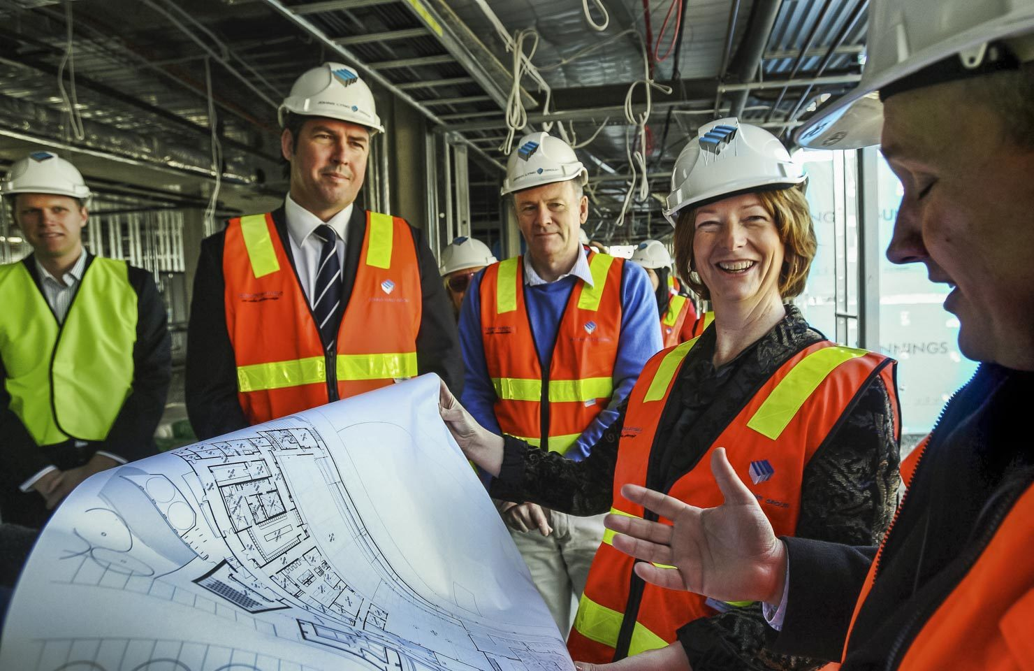 Former Prime Minister Julia Gillard on a construction site