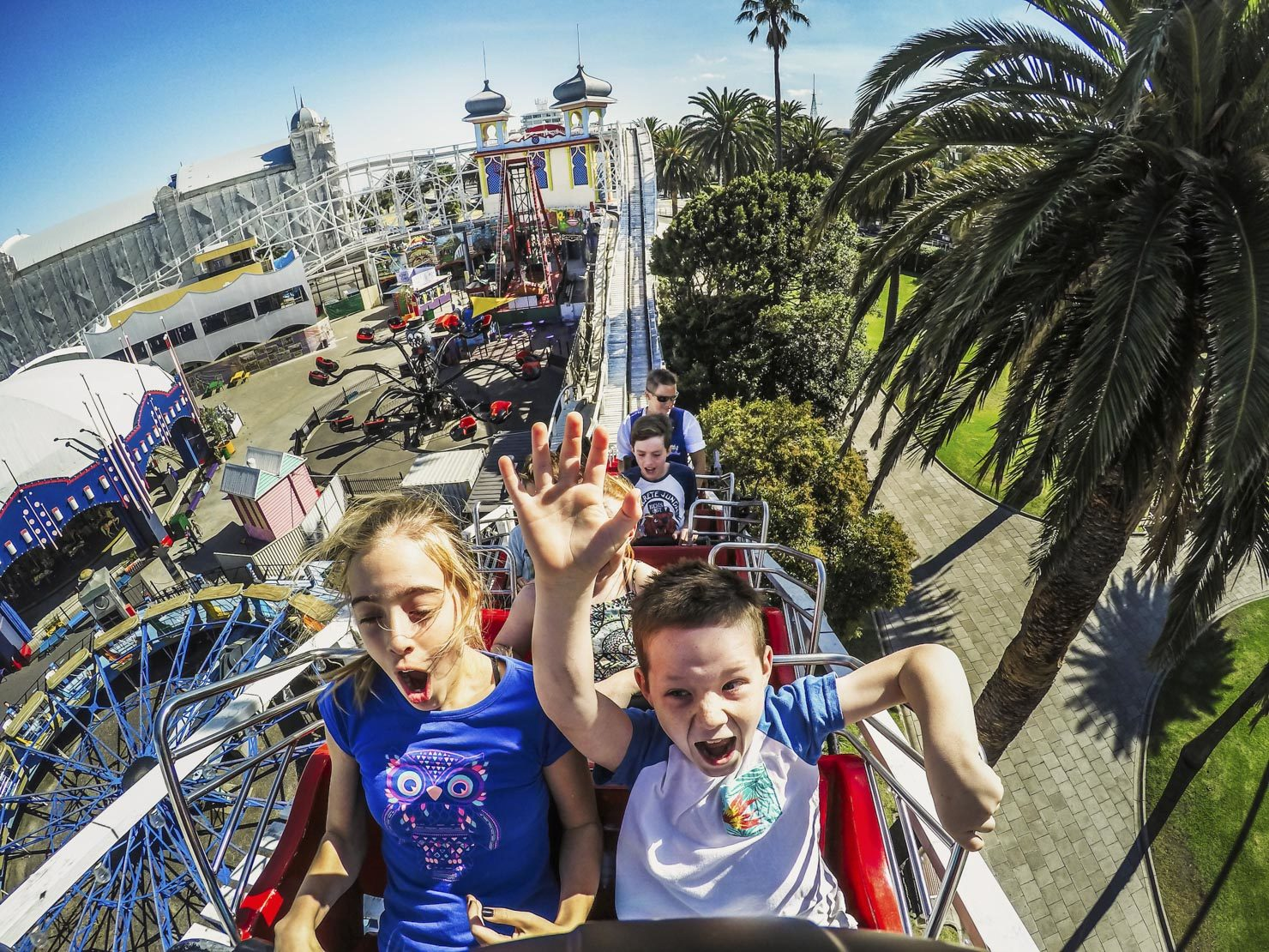 Luna Park kids on roller coaster ride