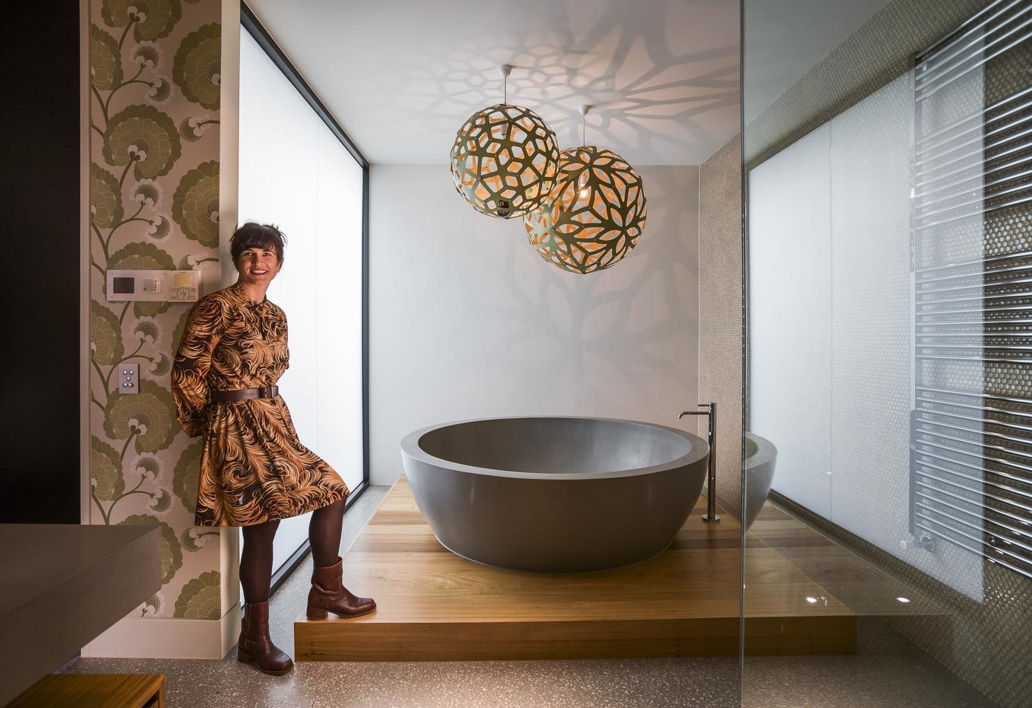 Designer in fancy bathroom