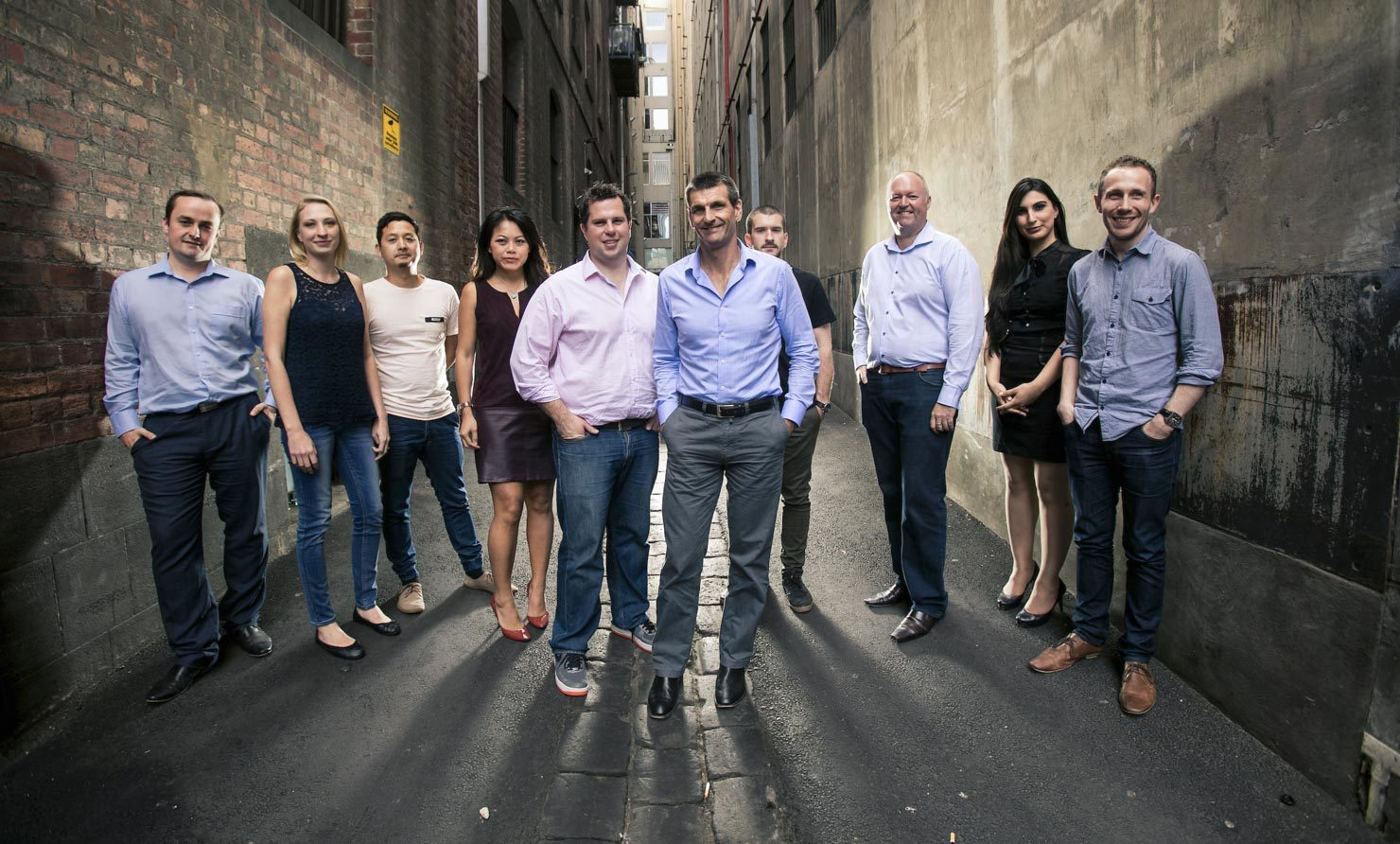Startup team photo in a Melbourne Laneway