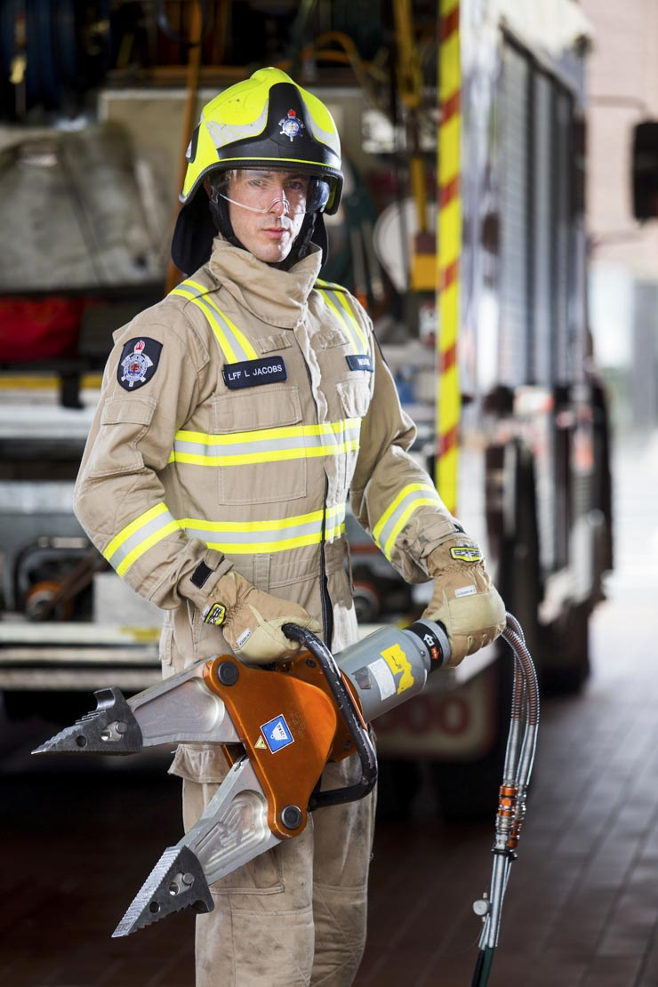 Melbourne Fire Brigade officer with the jaws of life