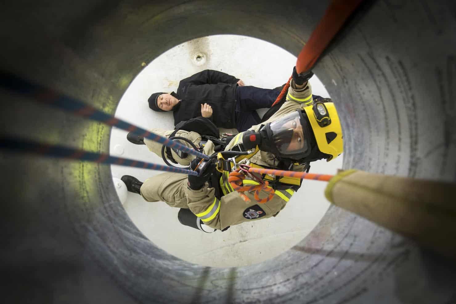 Melbourne Fire Brigade emergency rescue of a man caught inside a tank