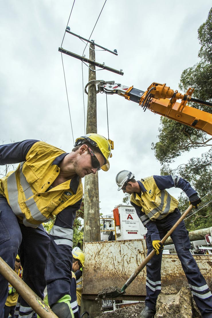 Jemena electrical trades workers replacing an electric pole