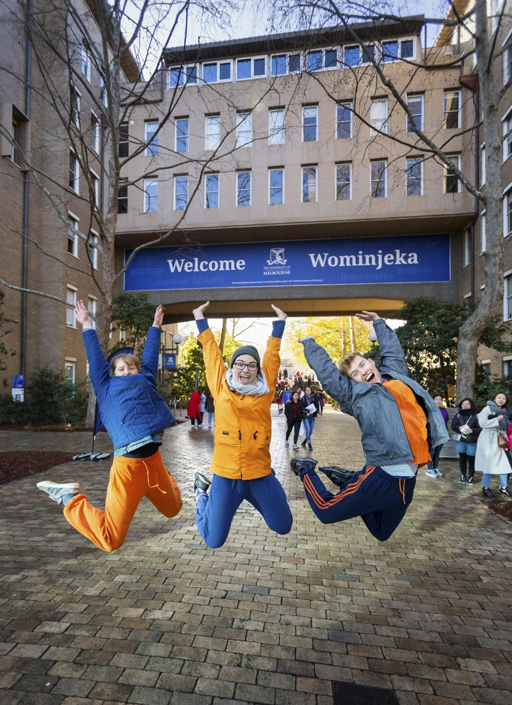 University students jump for joy at Melbourne University